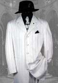 SKU#HIN2059 Shiny White And White Stripe Ton on Ton Shadow Stripe Mens Fashion Dress Suits $139