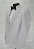 SKU#T111 Single Breasted Notch Lapel White 1 Button Notch Lapel jacket 100% Microfiber $89