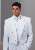SKU#T817 Six button Full Dress Formal Tuxedo Tail in Solid Snow White Satin facing $169