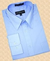 SKU#BF768 Sky Blue Cotton Blend Dress Shirt With Convertible Cuffs $39