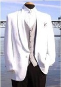 SKU#HHR1188 Snow White One-Button Front, Shawl Lapel Dinner Jacket $79