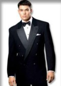 SKU# 32II Solid Black Double Breasted Tuxedo Suit $99