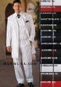 SKU# ZTV-139 Stunning Gangster Style 3 Piece White Fashion Zoot Suit w/Bold Black Pinstripes $149