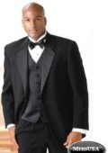 SKU# ZW-5120 Super 140's 2-Button Tuxedo Suit + Vest + Shirt + Bow Tie $149