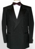SKU# RQW234 Super High Quality 6 Button Peak Lapel Super 150's Fine Wool Black Double-Breasted Tux $