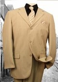 SKU#JX25744 Super 120'S G-Tan Solid Color Suit $79