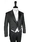 SKU#YA209 Super 150's Black Peak Tailcoat $225
