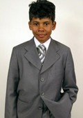 SKU#UM8892 Super 150's Italian Wool Gray Suit For Kids $99