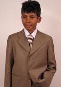 SKU#TH7680 Super 150's Italian Wool Bronze Suit For Kids $99