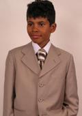 SKU#RT6943 Super 150's Italian Wool Tan Suit For Kids $99