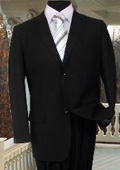 SKU#AS234 TS-02S MENS SOLID COLOR BLACK SUIT 2 BUTTON HAND STITCHING $149