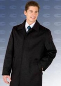 SKU#Sloan3121 35� Black four button fly front coat with set-in sleeves Wool&Cashmere $199