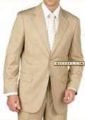 SKU#D622SI Tan~Beige~Bronz Pinstripe 2 Button Double Vent Mens Suit $139