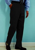 SKU#QS332 PA-100 Black premeier quality italian fabric Flat Front Mens Wool Dress Pants Hand Made Relax Fit $69