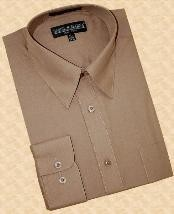 SKU#TA749 Taupe Cotton Blend Dress Shirt With Convertible Cuffs $39