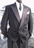 Black Double Breasted Tuxedo Jacket+Pants+Shirt+Long Tie 6 on 1 Button Closer Style Jacket $279