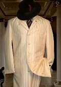 SKU# FJS146 Tonal Shadow Pinstripe Ton on Ton Tuxedo Ivory OFF White $195