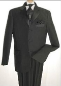 SKU#WE5 Tone-on-Tone Stripe Men's Three Button Satin Notch Lapel Tuxedo Black Shadow Stripe $225