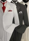 SKU#WE5 Tone-on-Tone Stripe Men's Three Button Satin Notch Lapel Tuxedo Black, White, Off-White $199