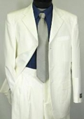 SKU#WE5 Tone-on-Tone Stripe Men's Three Button Satin Notch Lapel Tuxedo Ivory~Cream~Off-White $179