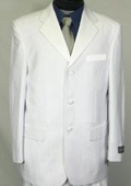 SKU#WE5 Tone-on-Tone Stripe Men's Three Button Satin Notch Lapel Tuxedo Pure White $179