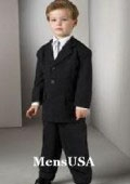 SKU# RJN871 Top Quality Boys Solid Black 3 Buttons Worsted Light Weight Wool Suit $99