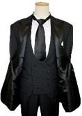 SKU# Tux-104 1 Button Peak Lapel Black Tuxedo Suit With Double Breasted Satin Vest $149