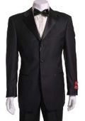 SKU#UH411 Tuxedo Black 3 Button Vented Wool Non Pleated Pants $159