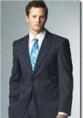 SKU#Dunberry Two Button Navy Blue Pinstrip Suits With Flat Front Pants 5 Colors