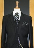 SKU#PK244 Two Button Three Piece Black Cord Stripe Wool Blend Flat Front Suit $189