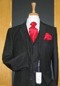 SKU#UN323 Two Button Three Piece Black Tone on Tone Shiny Wool Blend Flat Front Suit $189