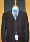 SKU#RS143 Two Button Three Piece Brown Tone on Tone Wool Blend Flat Front Suit $189