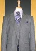 SKU#RT355 Two Button Three Piece Grey Pinstripe Flat Front Suit $189