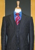 SKU#CH339 Two Button Three Piece Navy Pinstripe Flat Front Suit $189