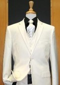 SKU#DP244 Two Button Three Piece Off White Tapered Cut Flat Front Suit $189