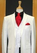 SKU#SL345 Two Button Three Piece Tapered Cut Flat Front White Suit $189