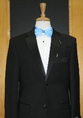 SKU#HJ347 Two Button Vented Tapered Cut 100% Wool Flat Front Tuxedo $149