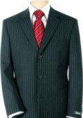 SKU# B2K-11 UMO Collezion Men's  Sharp Black Pinstripe Super 150's Wool $295