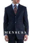 SKU# SQY457 $1295 TSK2 Umo 3-Button Rich Navy Pinstripe Super 150's Wool premeier quality italian fabric Suit $295