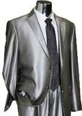 SKU#RB4929 Utex Shiny 2 Button Silver TNT Sharkskin Mens Suit $189