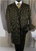 Bold Chalk Gangster BLACK & BOLD PRONOUNCE WITH GOLD PIN STRIPE 3PC FASHION ZOOT SUIT $139