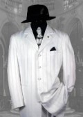 "SKU# AEF306 White Shadow Pinstripe Fashion NOTCH COLLAR; 38""LONG JACKET Suits $139"