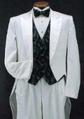 SKU#KO377 White Classic Fashion Basic Full Dress Tailcoat with Peak Lapel $139