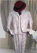 SKU#HI952 White with Red strip 3PC wide pinstrip fashion Zoot suit