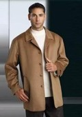SKU#MUCoat07 Wool&Cashmere Hidden Buttons Notch Lapel Camel Color $199