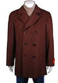 COAT08 Wool Pea Coat Wool Blend Double Breasted Broad Lapels Side Pocket in 3 Color $199