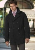 COAT08 Wool Pea Coat Wool Blend Double Breasted Broad Lapels Side Pocket in 3 Color $169