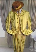 SKU#SF456 Yellow With Black Pinstripe Fashion Zoot Suit $188