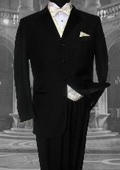 SEU#ER345 ZSP-HIGH END 4 BUTTON MENS BLACK WOOL TUXEDO HAND MADE premeier quality italian fabric DESIGN FRENCH CUT IT'S ONE
