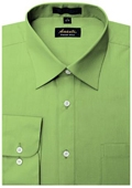 SKU#GR8920 Amanti Men's Wrinkle-free Apple Green Dress Shirt $25